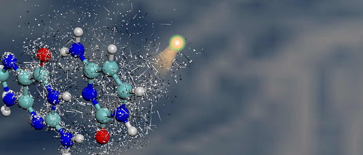 Artistic image of an ion colliding with a molecule